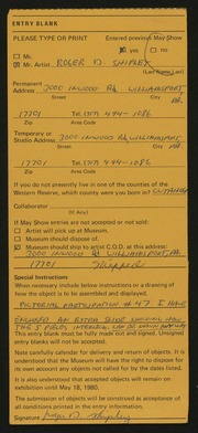 Entry card for Shipley, Roger D. for the 1980 May Show.