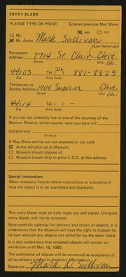Entry card for Sullivan, Mark for the 1980 May Show.