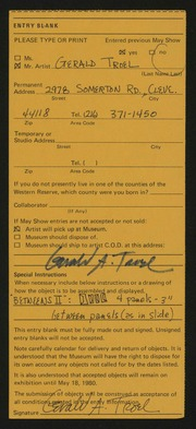 Entry card for Troel, Gerald for the 1980 May Show.