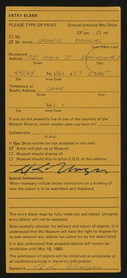 Entry card for Unger, Douglas Lee for the 1980 May Show.
