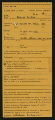 Entry card for Verdine, Theresa for the 1980 May Show.
