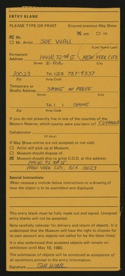 Entry card for Wall, Sue for the 1980 May Show.