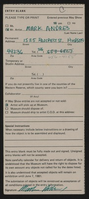 Entry card for Andres, Mark for the 1981 May Show.