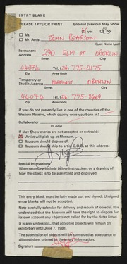 Entry card for Pearson, John for the 1981 May Show.