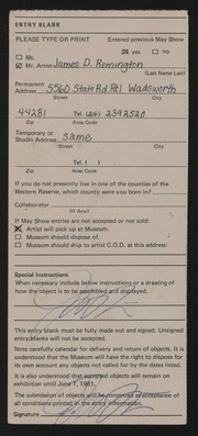 Entry card for Remington, James D. for the 1981 May Show.