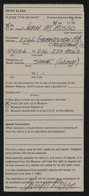 Entry card for Russo, Jean M. for the 1981 May Show.