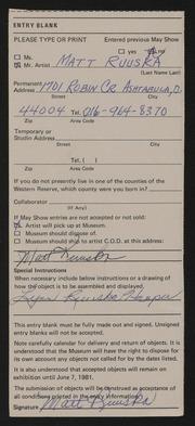 Entry card for Ruuska, Matt for the 1981 May Show.