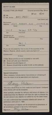 Entry card for Urbas, Mary for the 1981 May Show.