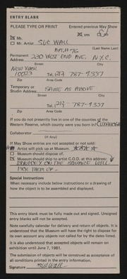 Entry card for Wall, Sue for the 1981 May Show.
