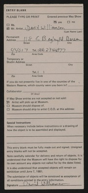 Entry card for Williamson, Dave (David E.) for the 1981 May Show.