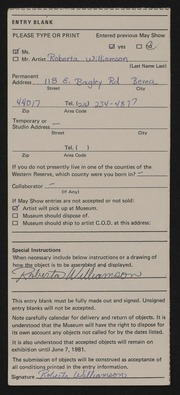 Entry card for Williamson, Roberta for the 1981 May Show.