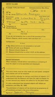 Entry card for Banyas, Deborah  for the 1982 May Show.