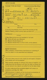 Entry card for Bates, Kenneth F. for the 1982 May Show.