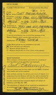 Entry card for Boehringer, Curtis John, and Soika, Fran for the 1982 May Show.