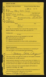 Entry card for Camp, Mary Beth for the 1982 May Show.