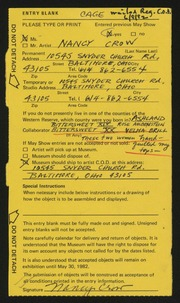 Entry card for Crow, Nancy, and Brill, Velma for the 1982 May Show.