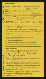 Entry card for Cushner, Steven for the 1982 May Show.