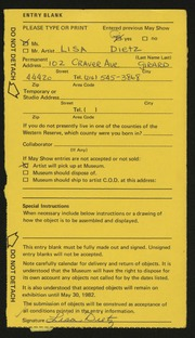 Entry card for Dietz, Lisa Ann for the 1982 May Show.