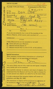 Entry card for Doe, Donald Gerald for the 1982 May Show.