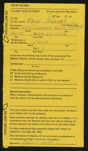 Entry card for Falk, Robert Irwin for the 1982 May Show.