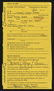 Entry card for Golya, Thomas Joseph for the 1982 May Show.