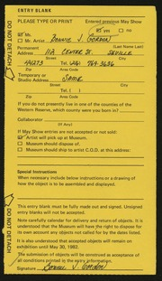 Entry card for Gordon, Bonnie J. for the 1982 May Show.