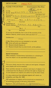 Entry card for Grauer, William C. for the 1982 May Show.
