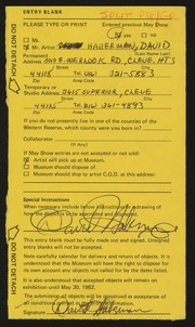 Entry card for Haberman, David Allen for the 1982 May Show.