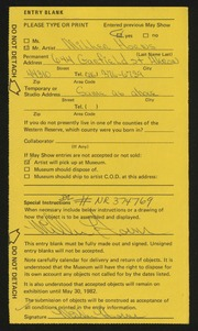 Entry card for Horns, Miller for the 1982 May Show.