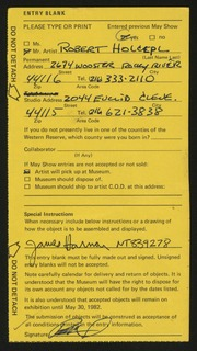 Entry card for Holcepl, Robert for the 1982 May Show.