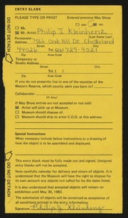 Entry card for Kleinhenz, Philip J. for the 1982 May Show.