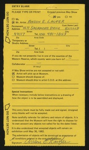 Entry card for Laufer, Anson  for the 1982 May Show.