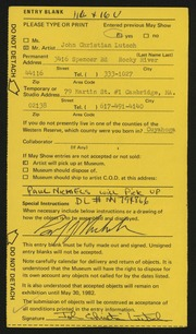 Entry card for Lutsch, John C.  for the 1982 May Show.