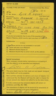 Entry card for Lyons, Ruth A.  for the 1982 May Show.