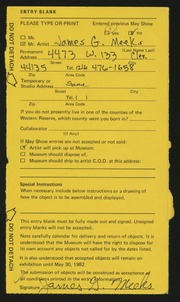 Entry card for Meeks, James G. for the 1982 May Show.
