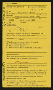 Entry card for Moore, Gregory Todd for the 1982 May Show.