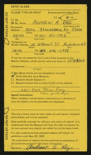 Entry card for Raz, Andrew A. for the 1982 May Show.