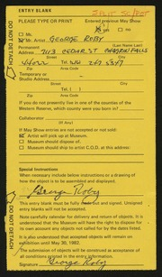 Entry card for Roby, George A. for the 1982 May Show.