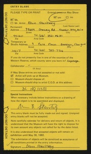 Entry card for Stavitsky, Ellen for the 1982 May Show.