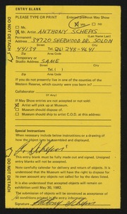 Entry card for Schepis, Anthony Joseph for the 1982 May Show.