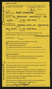 Entry card for Schlappal, Gary Allen for the 1982 May Show.
