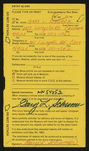 Entry card for Schumer, Gary for the 1982 May Show.