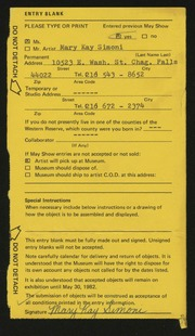 Entry card for Simoni, Mary Kay for the 1982 May Show.