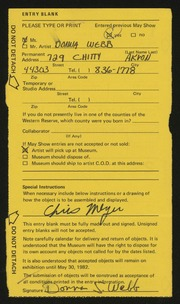 Entry card for Webb, Donna for the 1982 May Show.