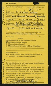 Entry card for Wilcox, S. Judson for the 1982 May Show.