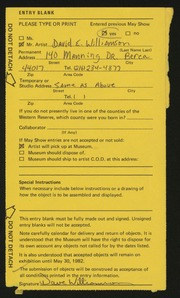 Entry card for Williamson, Dave (David E.) for the 1982 May Show.