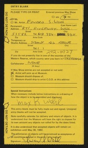 Entry card for Wohl, Edward S. for the 1982 May Show.