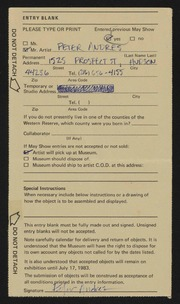 Entry card for Andres, Peter for the 1983 May Show.