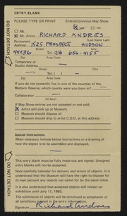 Entry card for Andres, Richard for the 1983 May Show.