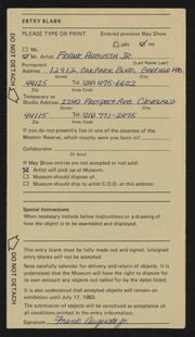Entry card for Augusta, Frank, Jr.  for the 1983 May Show.